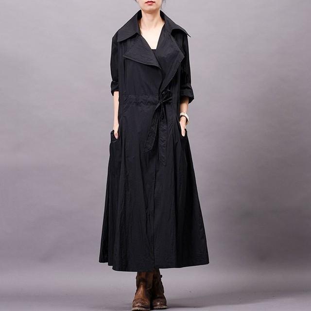 [YaLee] New Fashion Spring Summer 2019 Lapel Long Sleeve Personality Drawstring Pocket Big Size Loose Windbreaker Women Y234