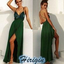 Summer Dresses NEW Women Green Lace Sequin Long Loose Dress Sleeveless V-Neck Backless