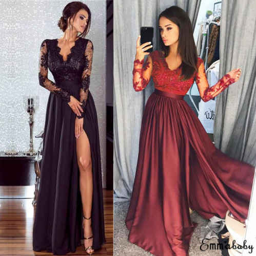 0703ac9df0 Women Lady Long Maxi Dress Long Sleeve V Neck High Waisted Side Slit Party Prom  Ball
