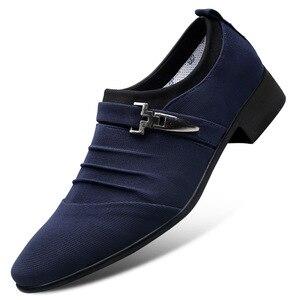 Image 5 - UPUPER/большие размеры 38 47; Свадебные туфли для мужчин; 2020; Модные парусиновые модельные туфли с острым носком; Мужские черные оксфорды без шнуровки; Официальная мужская обувь