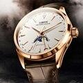 Lobinni suíça relógios masculinos marca de luxo fase da lua relógio mecânico automático masculino couro safira relogio masculino L16012-1