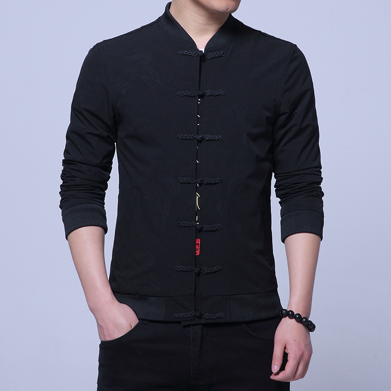 Single breasted Black Jacket mens Chinese Style men Coat Chinese Character Embroidery Decorative men Jacket Men S 3XL