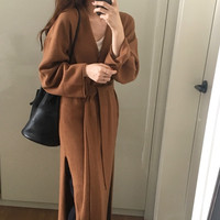 Fall Winter Women Loose Long Sleeve Coat Long Chic Sweater Outerwear Sash Tie up Elastic Knitted Cardigan Fashion Female Jackets