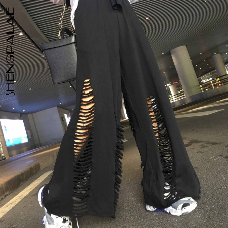 SHENGPALAE 2019 New Spring Summer Black Blue Loose Large Size Hollow Out Personality Casual Women Fashion   Wide     Leg     Pants   FL600
