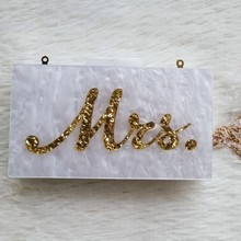 [Telastar] Ins Hot Selling Acrylic Bag Women Evening Day Clutch Pearl White With Gold Glitter Name Letter Mrs Luxury Brand