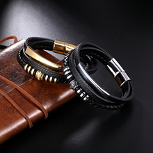 Men Multilayer Braided Braid Genuine Leather Bracelet Stainless Steel Magnetic Clasp Bangles Fashion Punk Male Jewelry