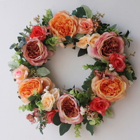 Round Shaped Rose Hanging Wreath Flowers Garland For Home Door Wall Decor Wedding Car Decoration Flowers 350x80mm & 450x80mm