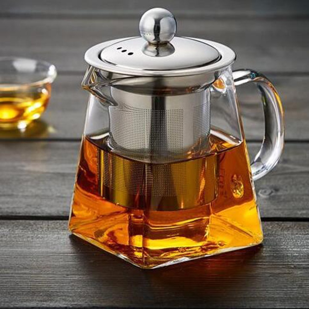350ml 550ml 750ml Glass Square Teapot High Temperature Resistant Loose Leaf Flower Tea Coffee Pot Stainless Steel Infuser Filter