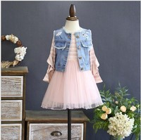 spring girl long sleeve dress pink tulle dress for kids dresses for girl's clothing Denim Vest embroidery flower princess