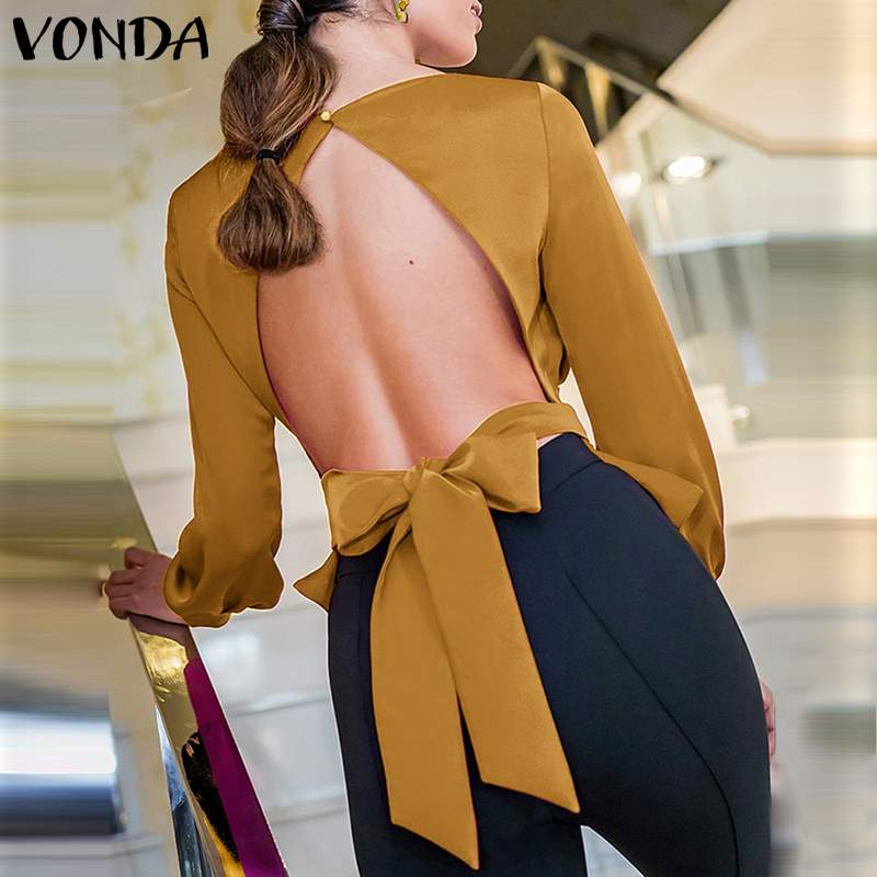 2020 VONDA Summer Women Backless Blouse Sexy Club Tops Vintage Causal Bowknot Blouse Tops Spring Ladies Shirt S-5XL Blusas
