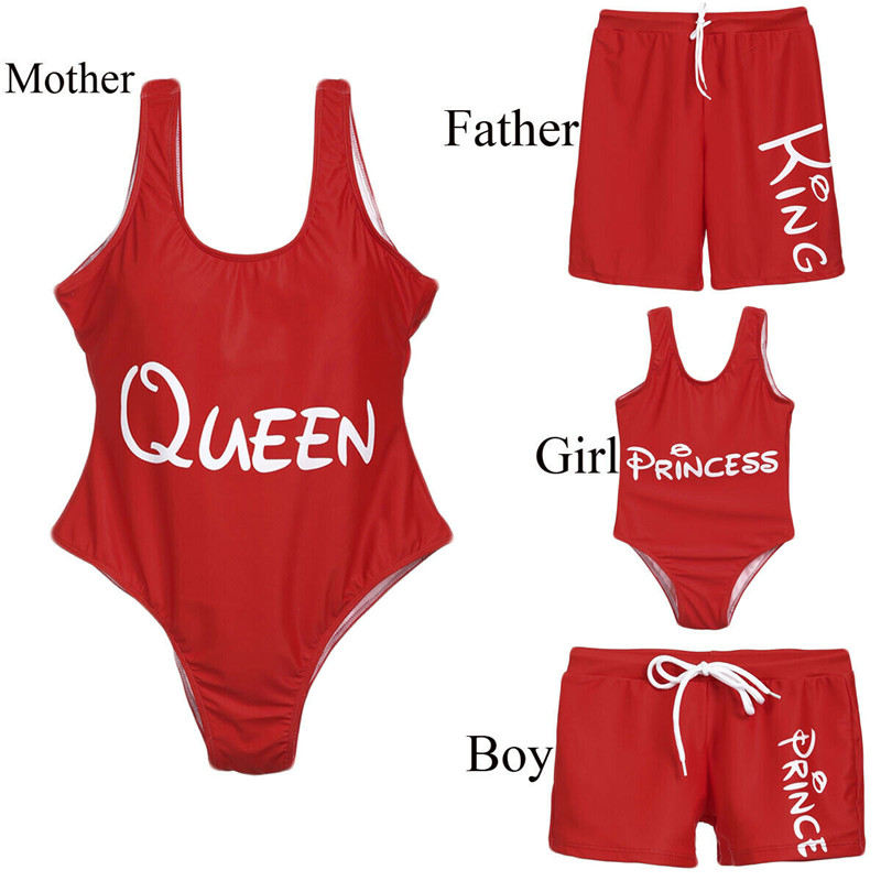 New Family Matching One Piece Swimsuit Mother Kids Girls Letter Print Bikini Dad Boy Swim Trunks Summer Beachwear Bathing Suit