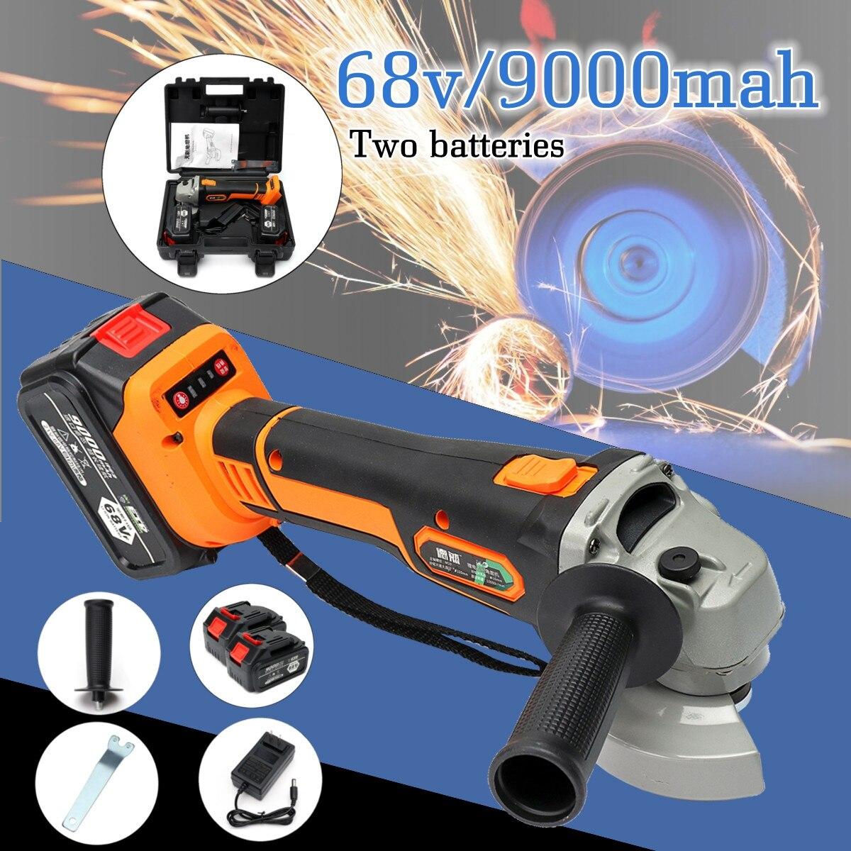 68vf 9000 mah Électrique Angle Grinder Polisseuse Sans Fil Machine De Polissage Outil De Coupe Avec un chargeur et 1/2 Batterie