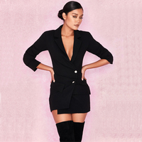 2018 Winter Formal V Neck Women Black Blazer Runway Designer Singal Breasted Long Sleeve Female Office Jacket Coat Clothing