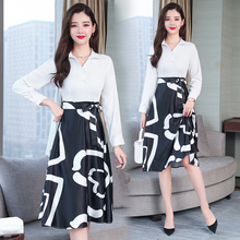 2019 large size ladies spring clothing Korean fashion dress new gentle fairy long-sleeved dresses women casual print