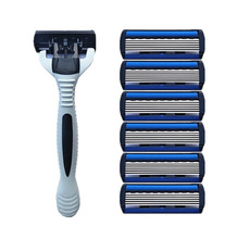 Men Safety Traditional Classic 6 Layers Shaving Hair Blade Razor Manual Stainless Steel