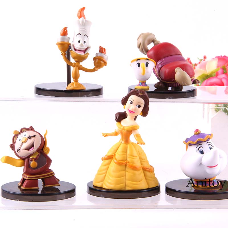 Aladdin Beauty And The Beast Belle Kawaii Cute Action Figure Collection Model Toys 5pcs/Set Щенячий патруль