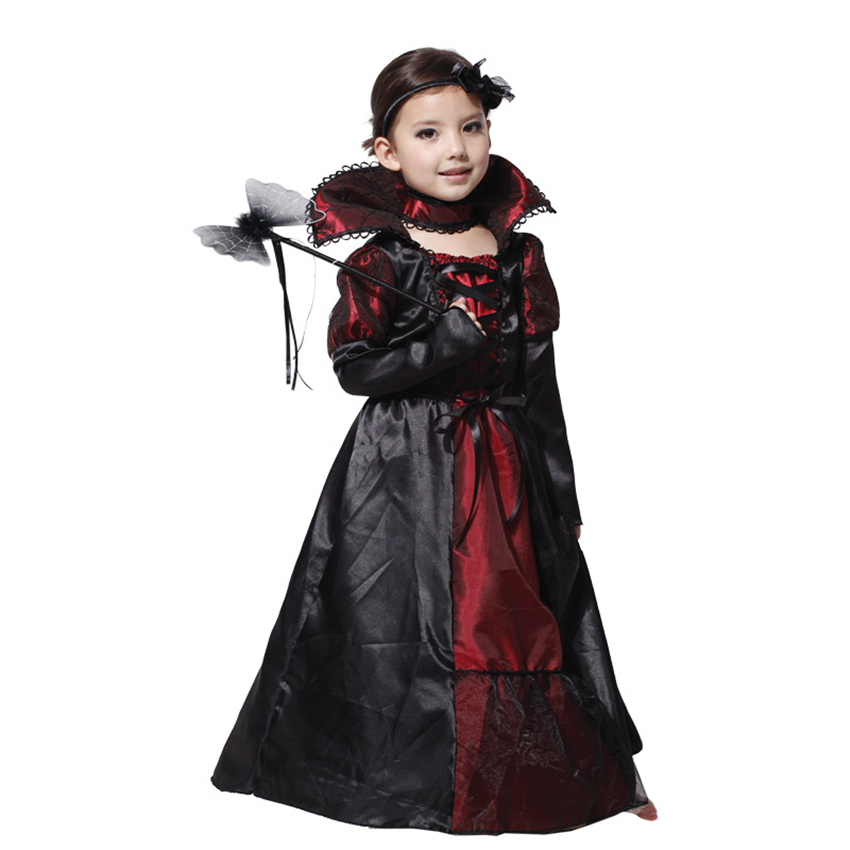 Queen Cosplay Vampire Halloween Costumes Fancy Performance Witch Lace for Kids Girl Gorgeous Dress Party Horror PURIM Clothes