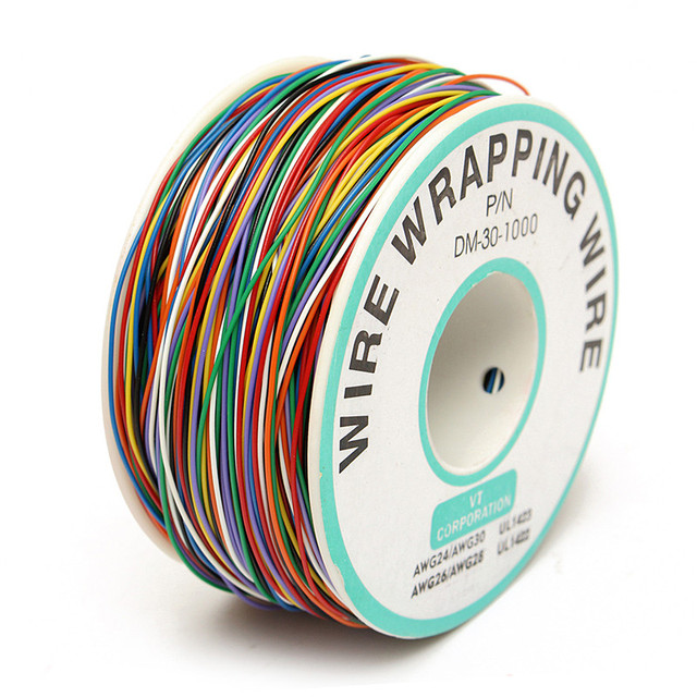 Miedź cynowana 250M 8-Wire kolorowe izolowane P/N B-30-1000 30AWG owijanie drutu osłonka na kable kołowrotek do laptopa płyty głównej płyta główna