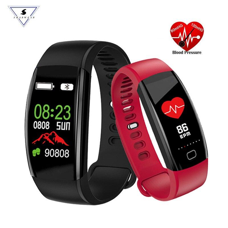 Smartwear F64HR pulsera inteligente de Fitness Monitor de actividad deportiva presión arterial GPS reloj de pulsera IP68 banda impermeable PK M3