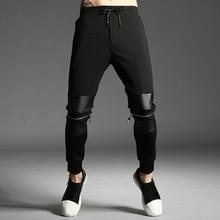 #1822 Spring Tight Hip Hop Pants Men Black Knee With Zipper Skinny Sweaptpants For Men Cotton Streetwear Sweatpants Joggers XXXL