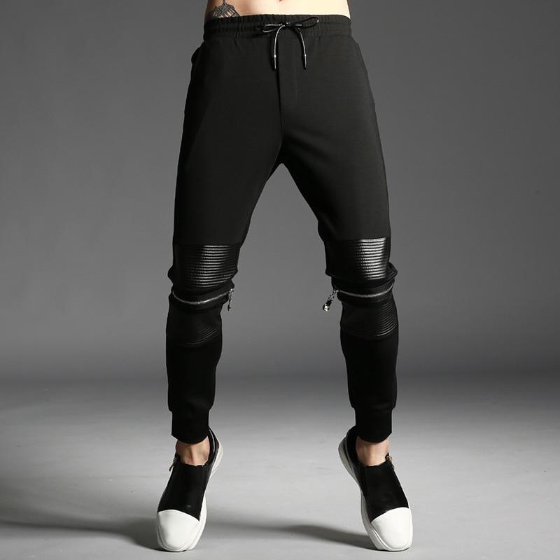 #2428 Frühling Große Größe Hip Hop Hosen Männer Schwarz Knie Mit Zipper Dünne Sweaptpants Für Männer Baumwolle Streetwear Jogginghose Joggers