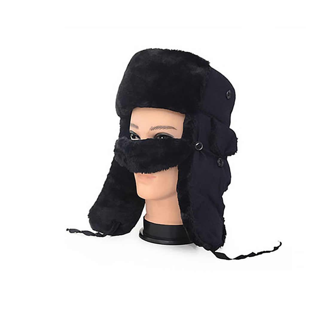 Зимняя шерстяная флисовая шапка бомбер мужская ушанка защита русские шапки