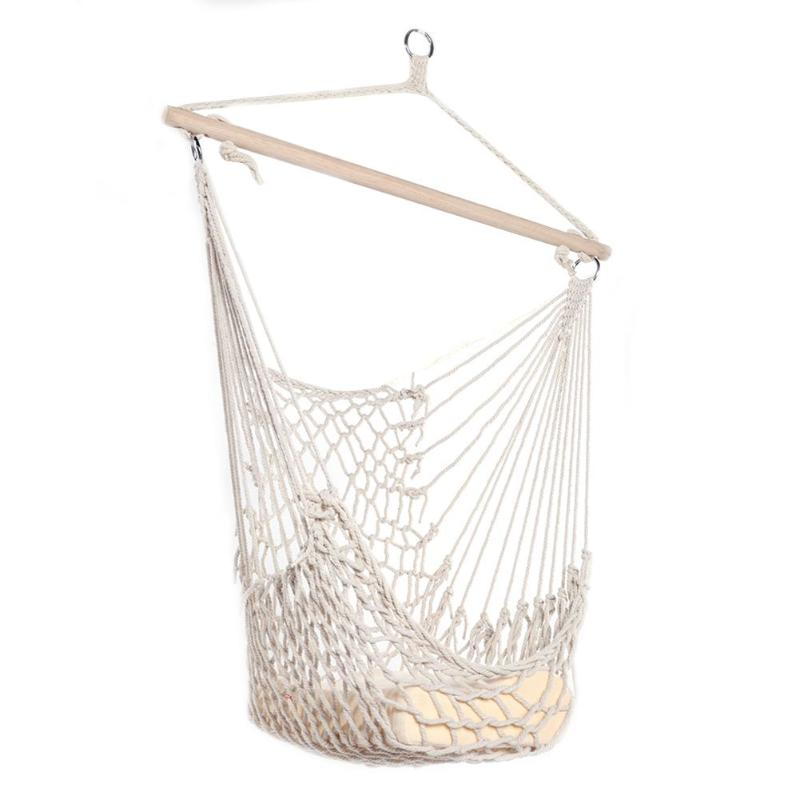 Beige Cotton Rope Hammock Net Swing Hanging Chairs For Kids Adults Outdoor Cradles Home Garden Hammocks