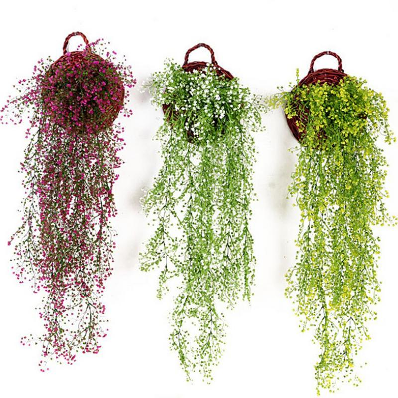 Home & Garden 100% True New Arrival Willow Simulation Artificail Plants Wall Decor Basket Orchid Rattan Plastic Fake Flower Artificial Plant Decorations Artificial Decorations