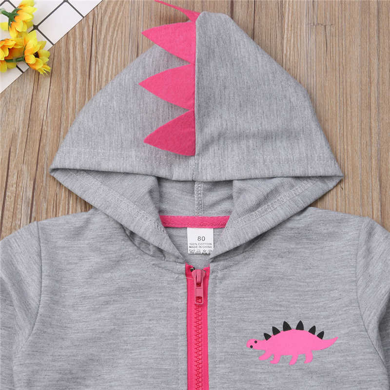 ea1d153b9 ... Fashion Baby Girls Dinosaur Hooded Clothes Set Autumn/Winter Warm Thick Zip  Hoodies Jacket Coat ...