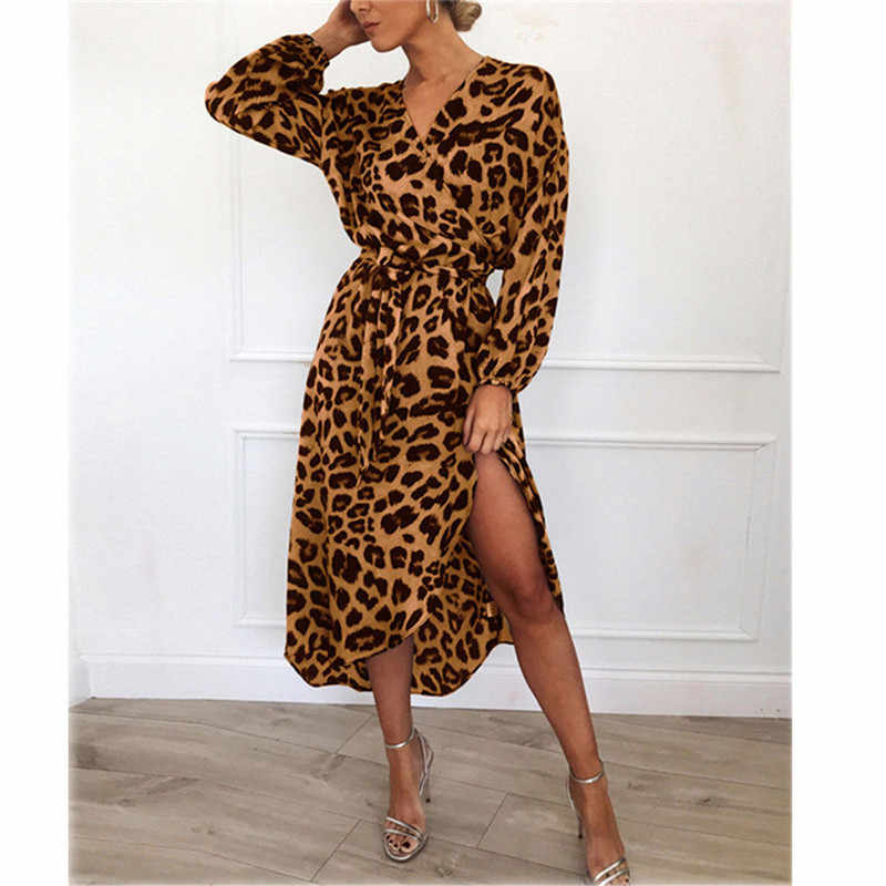Womens fashion summer casual bandage bodycon V neck long sleeve leopard midi dress ladies evening party club long dress