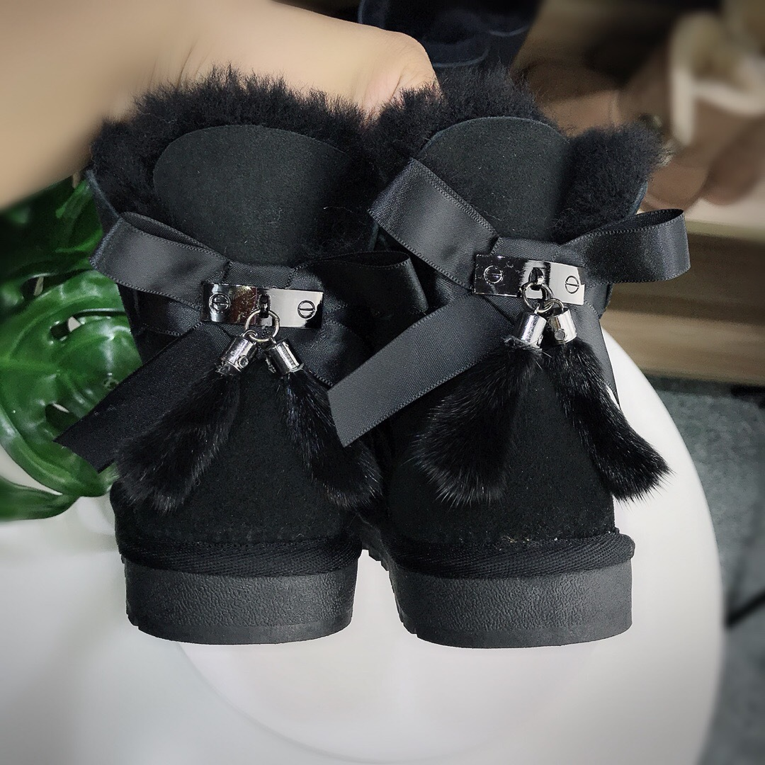 Top Quality Fashion Women Snow Boots 100 Genuine Sheepskin Leather Natural Fur Ankle Boots Warm Winter
