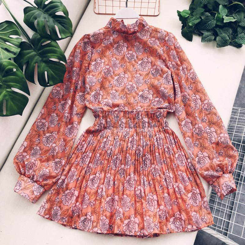 NiceMix 2019 new fashion women's two piece set sweet floral stand collar lantern sleeves loose blouse shirt +high waist skirt