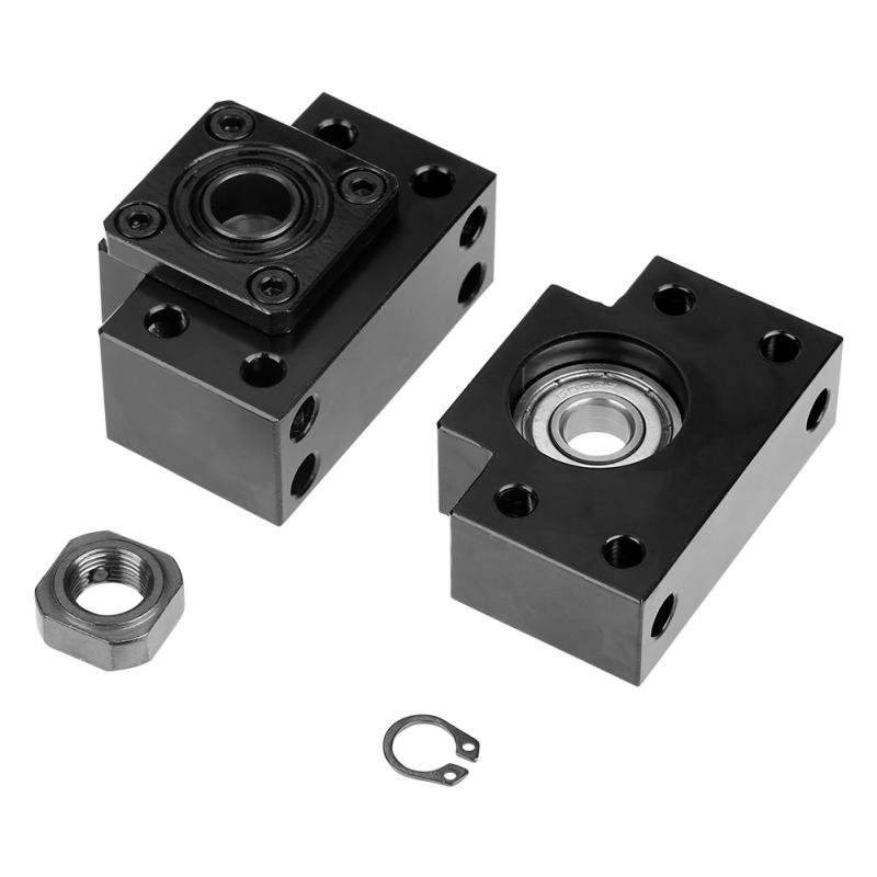 Fixed + Floated Side Bearing Mount Set End Supports Bearing Housing Pillow Block Mounted Support Set Ball Screw Bearings