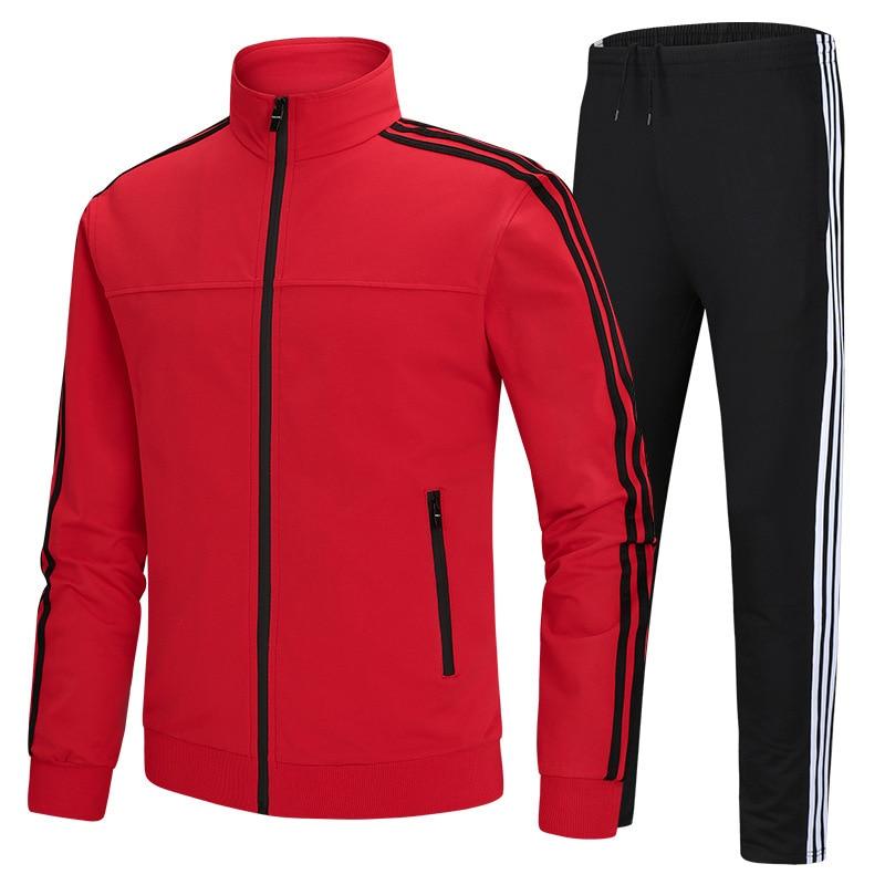 Automne hiver Survêtement pour hommes costume de sport à manches longues veste et pantalon costume de roulement sport football football formation costume
