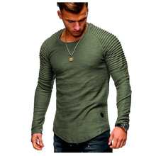 2018 Man undershirt Round Neck Self-cultivation Solid Color Long Sleeve T Pity Stripe Fold Insert Rotator Cuff bodybuilding