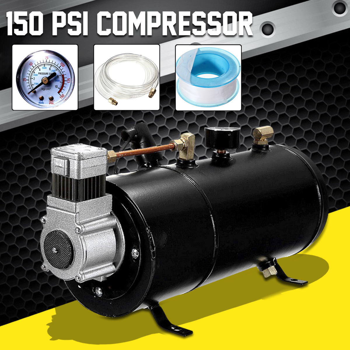 150 PSI 12V Compressor Electric Air Compressor  with 3 liters Tank Capacity for Air Horn Train Truck Auto Bicycles Tire H004150 PSI 12V Compressor Electric Air Compressor  with 3 liters Tank Capacity for Air Horn Train Truck Auto Bicycles Tire H004