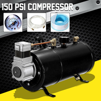 150 PSI 12V Compressor Electric Air Compressor with 3 liters Tank Capacity for Air Horn Train Truck Auto Bicycles Tire H004