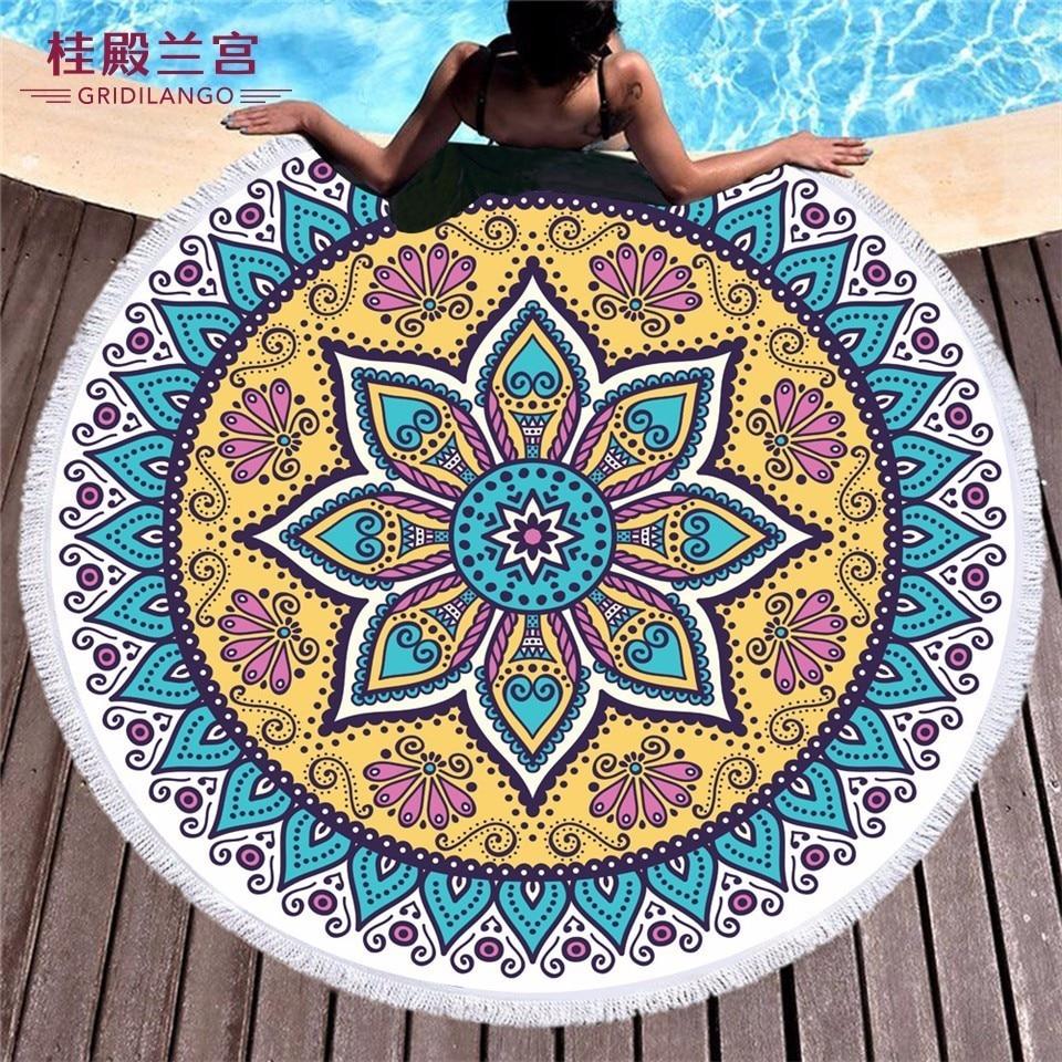 GRIDILANGO Mandala Bohemia Geometric Color Round Beach Towel