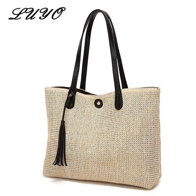 2018 New Pattern Weave Woman Fashion Beach Crochet Straw Shoulder Handbags  Summer Bag Women Basket Neutral 01060d35a554a