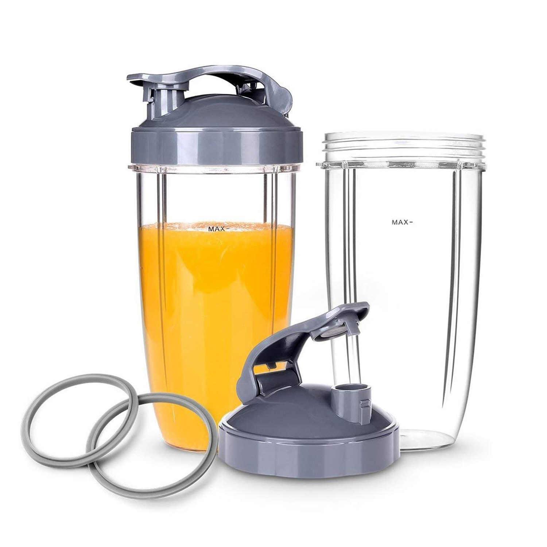 Copos de substituição com tampa flip-to-go superior para nutribullet misturador/misturador de alta velocidade de 6 peças, gaxeta e copos 32oz para nutribulle