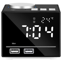 EU Plug 1Set Bluetooth Color Changing Alarm Clock Fm Radio With Usb Charging And Speakerphone