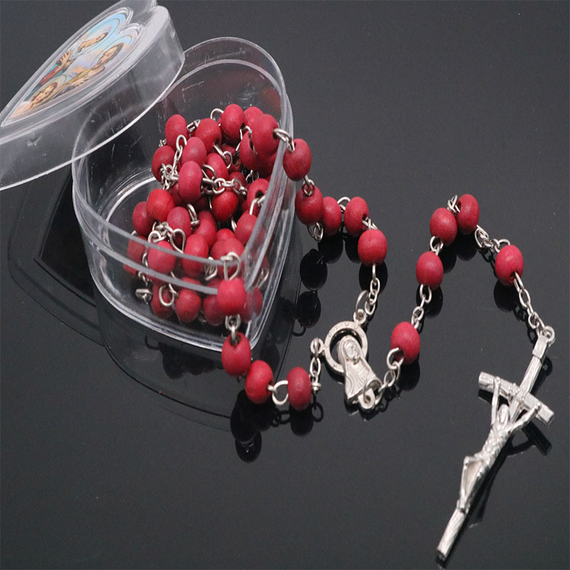 Classic 6mm scented wood beads rosary necklace heart shaped box packaging Christ prays rosary necklace Picture random in Pendant Necklaces from Jewelry Accessories