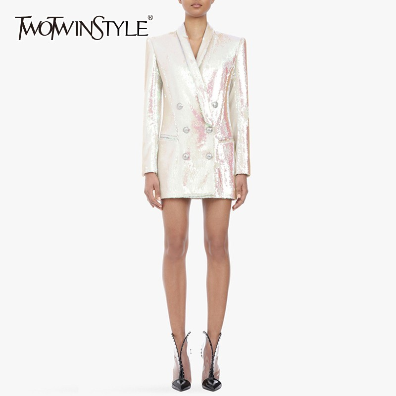 TWOTWINSTYLE Heavy Sequins Blazer Coat Female Slim V Neck Long Sleeve Women's Suit Large Size Elegant Fashion 2019 Spring New