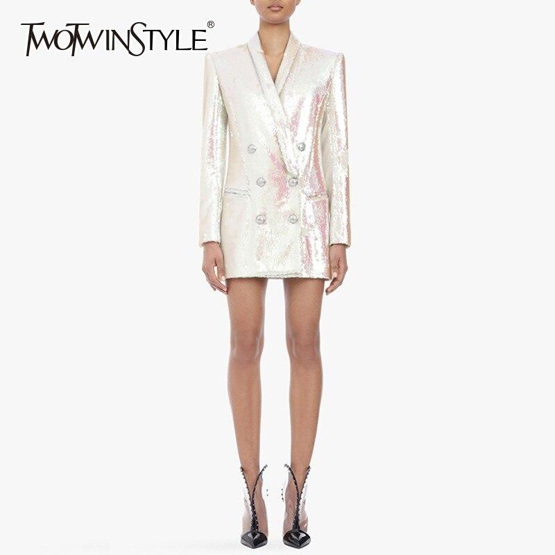 TWOTWINSTYLE ciężkie cekiny Blazer płaszcz kobiet Slim V Neck z długim rękawem kobiet garnitur duży rozmiar elegancki moda 2019 wiosna nowy w Marynarki od Odzież damska na  Grupa 1