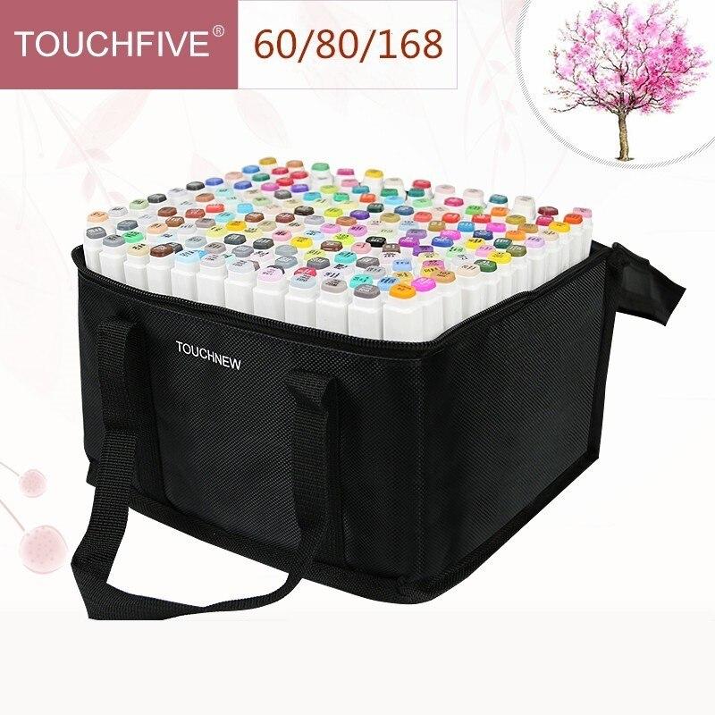 Touchfive 30/40/60/80/168 Cores Marcadores Da Arte Set Esboço Caneta de Tinta À Base de Álcool para o Artista Suprimentos de Animação de Desenho Mangá