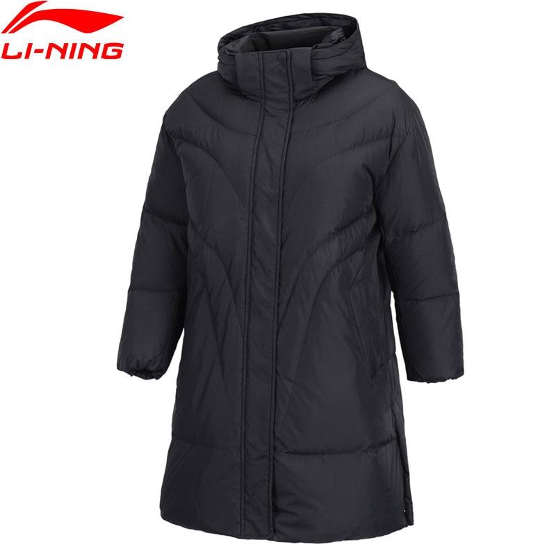 Li Ning Women The Trend Mid Down Coat 70 White Duck Down ATProof Wind Warm Loose