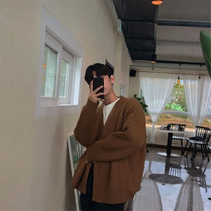 Image 4 - 2019 Spring And Autumn Solid Color Loose Couple Chic Sweater Cardigan Korean Mens Sweater Wild Jacket Gray / Brown M XL