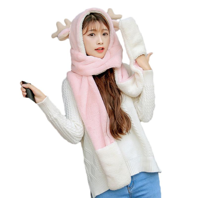 2018 Three Pieces Winter Warm Women Hoodie Gloves Pocket Earflap Hat Long Scarf Shawl Snood Wraps Women Gloves Hat Scarf Suit