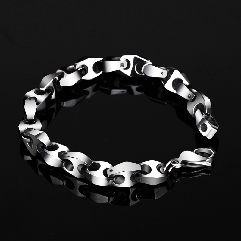 Punk High Polished Silver Tones Solid Tungsten Carbide Chain Links Man Bracelets Fashion Man s Jewelry