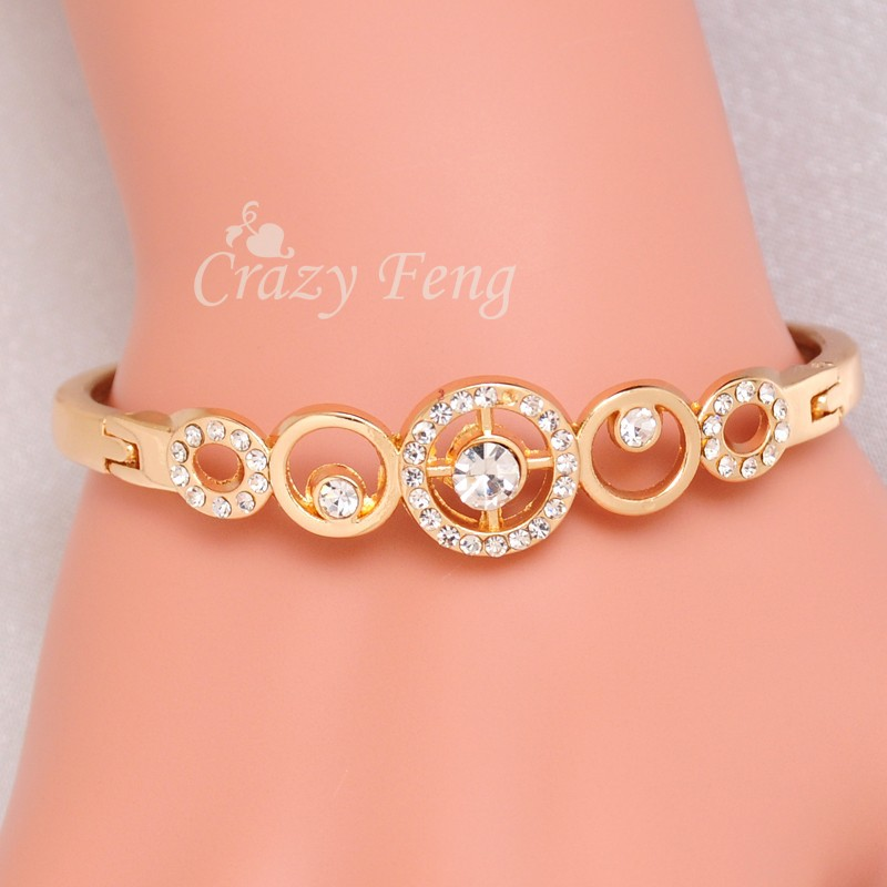 Trendy Brand Gold Color Round Crystal Cross Charms Bracelets Bangles for Women Wedding Party Bridal Costume Jewelry Bijoux Gift